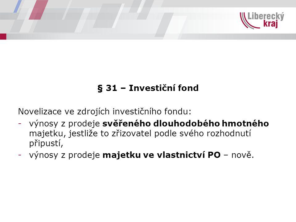 § 31 – Investiční fond Novelizace ve zdrojích investičního fondu: -výnosy z prodeje svěřeného dlouhodobého hmotného majetku, jestliže to zřizovatel podle svého rozhodnutí připustí, -výnosy z prodeje majetku ve vlastnictví PO – nově.