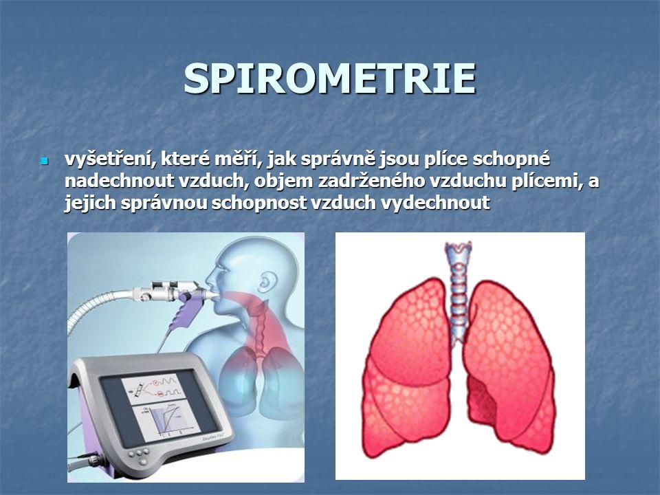SPIROMETRIE vyšetření, které měří, jak správně jsou plíce schopné nadechnout vzduch, objem zadrženého vzduchu plícemi, a jejich správnou schopnost vzd