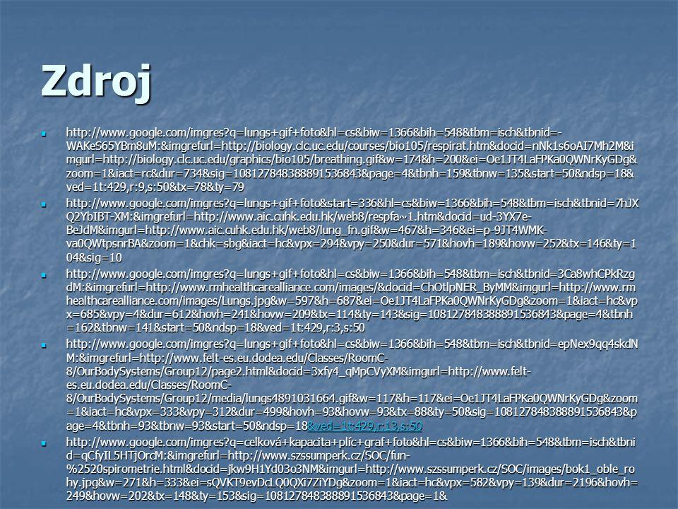 Zdroj http://www.szssumperk.cz/SOC/fun-%20spirometrie.html http://www.szssumperk.cz/SOC/fun-%20spirometrie.html http://www.szssumperk.cz/SOC/fun-%20spirometrie.html http://www.google.com/imgres?q=spirometr+graf&hl=cs&biw=1366&bih=548&tbm=isch&tbnid=ofzIyw_kNoBRUM: &imgrefurl=http://perutyn.wbs.cz/Zajimavosti.html&docid=3o- XpcIXJP6uwM&imgurl=http://perutyn.wbs.cz/teorie_potapeni/graf.jpg&w=439&h=321&ei=2xBKT_7MNYrF0QXhqd H- DQ&zoom=1&iact=hc&vpx=786&vpy=243&dur=675&hovh=192&hovw=263&tx=110&ty=133&sig=1081278483888 91536843&page=1&tbnh=162&tbnw=199&start=0&ndsp=10&ved=1t:429,r:8,s:0 http://www.google.com/imgres?q=spirometr+graf&hl=cs&biw=1366&bih=548&tbm=isch&tbnid=ofzIyw_kNoBRUM: &imgrefurl=http://perutyn.wbs.cz/Zajimavosti.html&docid=3o- XpcIXJP6uwM&imgurl=http://perutyn.wbs.cz/teorie_potapeni/graf.jpg&w=439&h=321&ei=2xBKT_7MNYrF0QXhqd H- DQ&zoom=1&iact=hc&vpx=786&vpy=243&dur=675&hovh=192&hovw=263&tx=110&ty=133&sig=1081278483888 91536843&page=1&tbnh=162&tbnw=199&start=0&ndsp=10&ved=1t:429,r:8,s:0 http://www.google.com/imgres?q=lungs+gif+foto&hl=cs&biw=1366&bih=548&tbm=isch&tbnid=zjYTM6aktM3ObM: &imgrefurl=http://www.sciencequiz.net/jcscience/jcbiology/gapfilling/respiration.htm&docid=17osmhg82Zg7hM&im gurl=http://www.sciencequiz.net/jcscience/jcbiology/gapfilling/images/lungs.gif&w=150&h=140&ei=Oe1JT4LaFPKa 0QWNrKyGDg&zoom=1&iact=hc&vpx=514&vpy=328&dur=1303&hovh=112&hovw=120&tx=63&ty=82&sig=10812 7848388891536843&page=2&tbnh=112&tbnw=120&start=12&ndsp=18&ved=1t:429,r:8,s:12 http://www.google.com/imgres?q=lungs+gif+foto&hl=cs&biw=1366&bih=548&tbm=isch&tbnid=zjYTM6aktM3ObM: &imgrefurl=http://www.sciencequiz.net/jcscience/jcbiology/gapfilling/respiration.htm&docid=17osmhg82Zg7hM&im gurl=http://www.sciencequiz.net/jcscience/jcbiology/gapfilling/images/lungs.gif&w=150&h=140&ei=Oe1JT4LaFPKa 0QWNrKyGDg&zoom=1&iact=hc&vpx=514&vpy=328&dur=1303&hovh=112&hovw=120&tx=63&ty=82&sig=10812 7848388891536843&page=2&tbnh=112&tbnw=120&start=12&ndsp=18&ved=1t:429,r:8,s:12 http://www.go