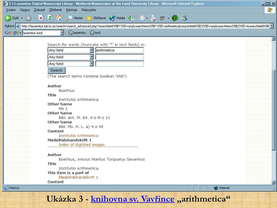 """Ukázka 3 - knihovna sv. Vavřince """"arithmetica""""knihovna sv. Vavřince"""
