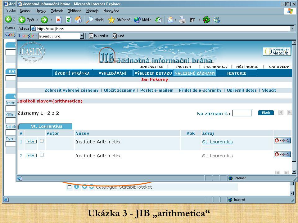 """Ukázka 3 - JIB """"arithmetica"""""""