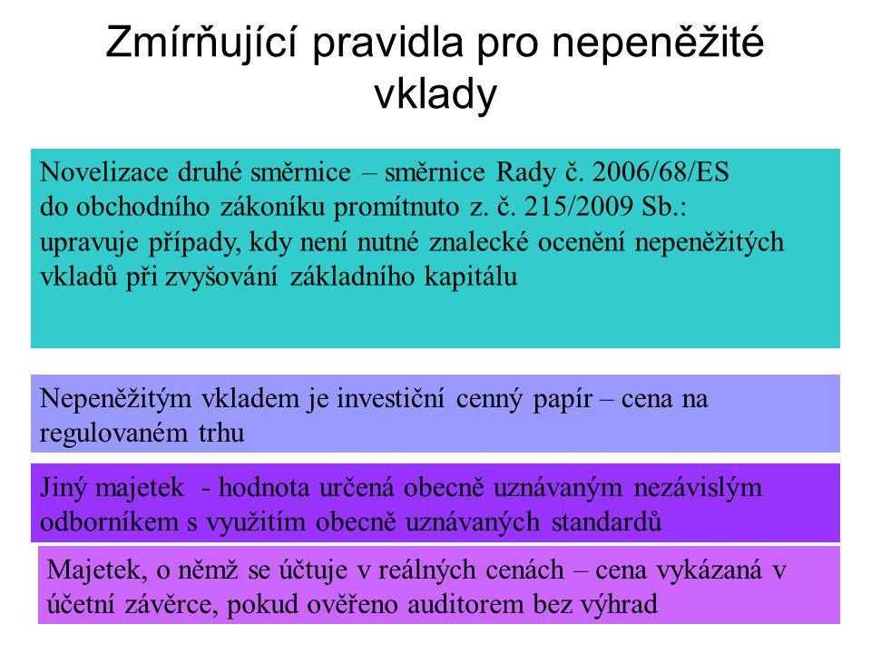 Zmírňující pravidla pro nepeněžité vklady Novelizace druhé směrnice – směrnice Rady č.