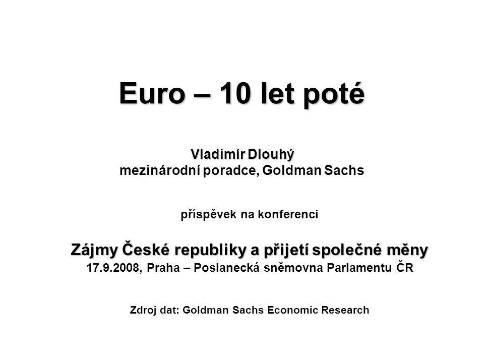 Euro – 10 let poté Vladimír Dlouhý Euro – 10 let poté Vladimír Dlouhý mezinárodní poradce, Goldman Sachs příspěvek na konferenci Zájmy České republiky a přijetí společné měny 17.9.2008, Praha – Poslanecká sněmovna Parlamentu ČR Zdroj dat: Goldman Sachs Economic Research