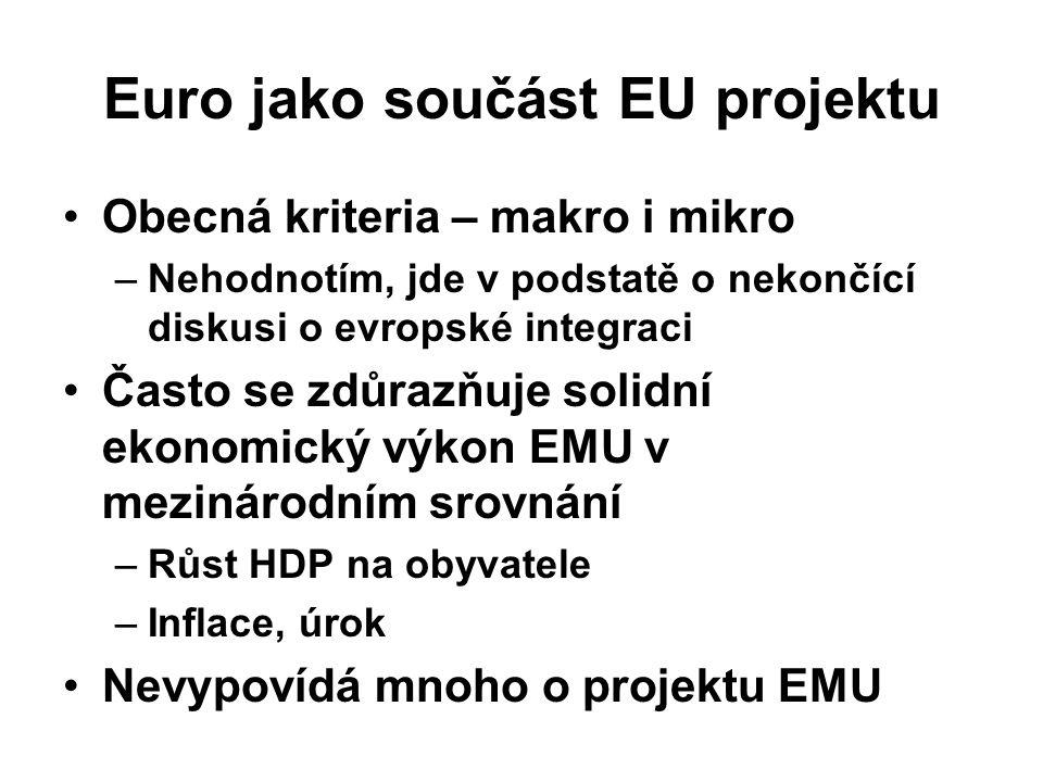 Euro jako součást EU projektu Obecná kriteria – makro i mikro –Nehodnotím, jde v podstatě o nekončící diskusi o evropské integraci Často se zdůrazňuje solidní ekonomický výkon EMU v mezinárodním srovnání –Růst HDP na obyvatele –Inflace, úrok Nevypovídá mnoho o projektu EMU