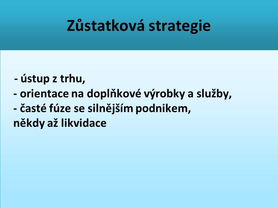 Zůstatková strategie - ústup z trhu, - orientace na doplňkové výrobky a služby, - časté fúze se silnějším podnikem, někdy až likvidace