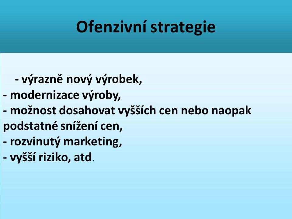 Ofenzivní strategie - výrazně nový výrobek, - modernizace výroby, - možnost dosahovat vyšších cen nebo naopak podstatné snížení cen, - rozvinutý marke