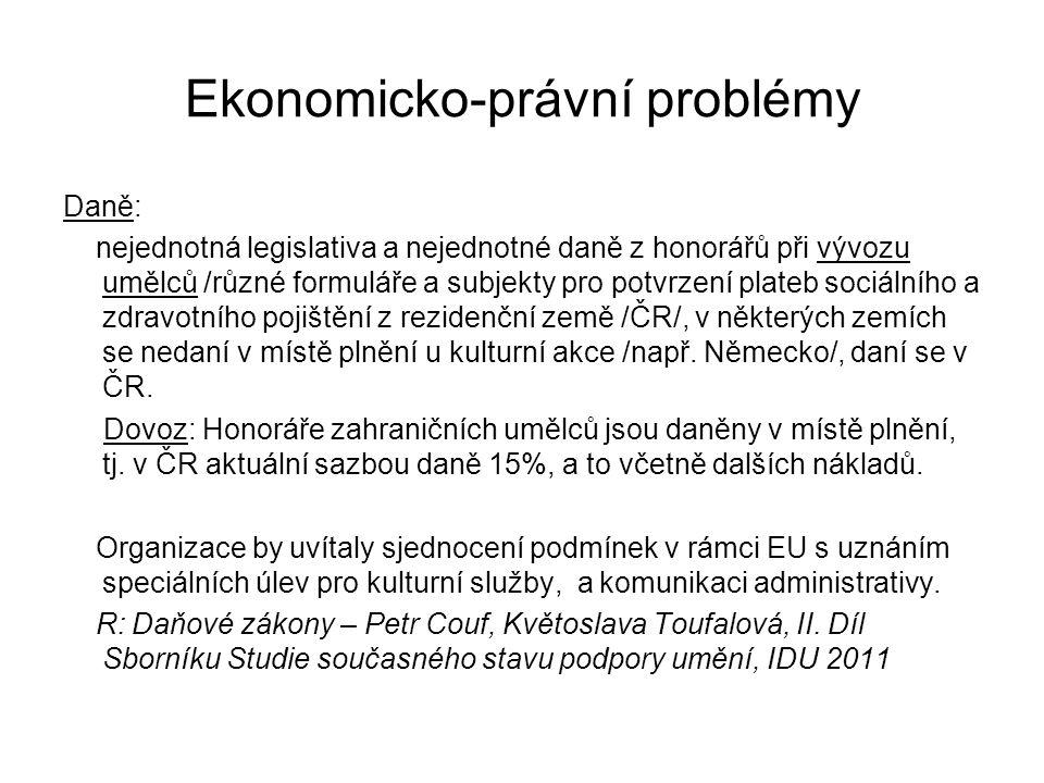 Ekonomicko-právní problémy Daně: nejednotná legislativa a nejednotné daně z honorářů při vývozu umělců /různé formuláře a subjekty pro potvrzení plate