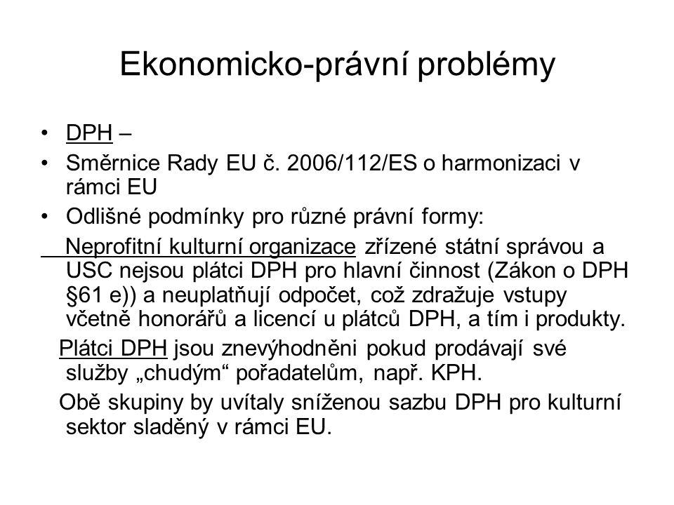 Ekonomicko-právní problémy DPH – Směrnice Rady EU č. 2006/112/ES o harmonizaci v rámci EU Odlišné podmínky pro různé právní formy: Neprofitní kulturní