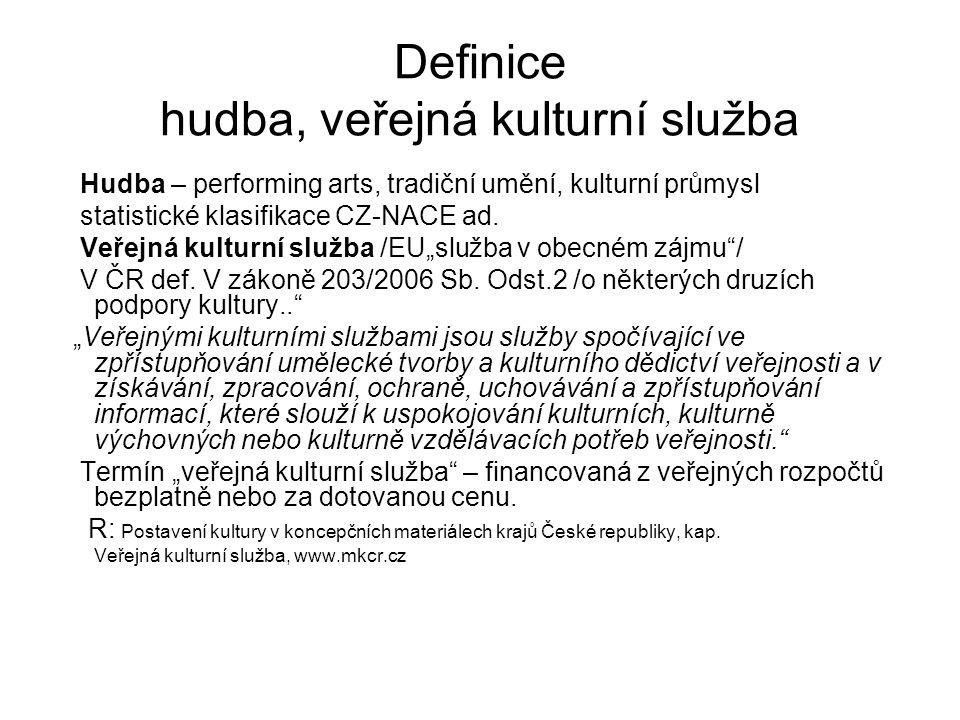 Definice hudba, veřejná kulturní služba Hudba – performing arts, tradiční umění, kulturní průmysl statistické klasifikace CZ-NACE ad. Veřejná kulturní