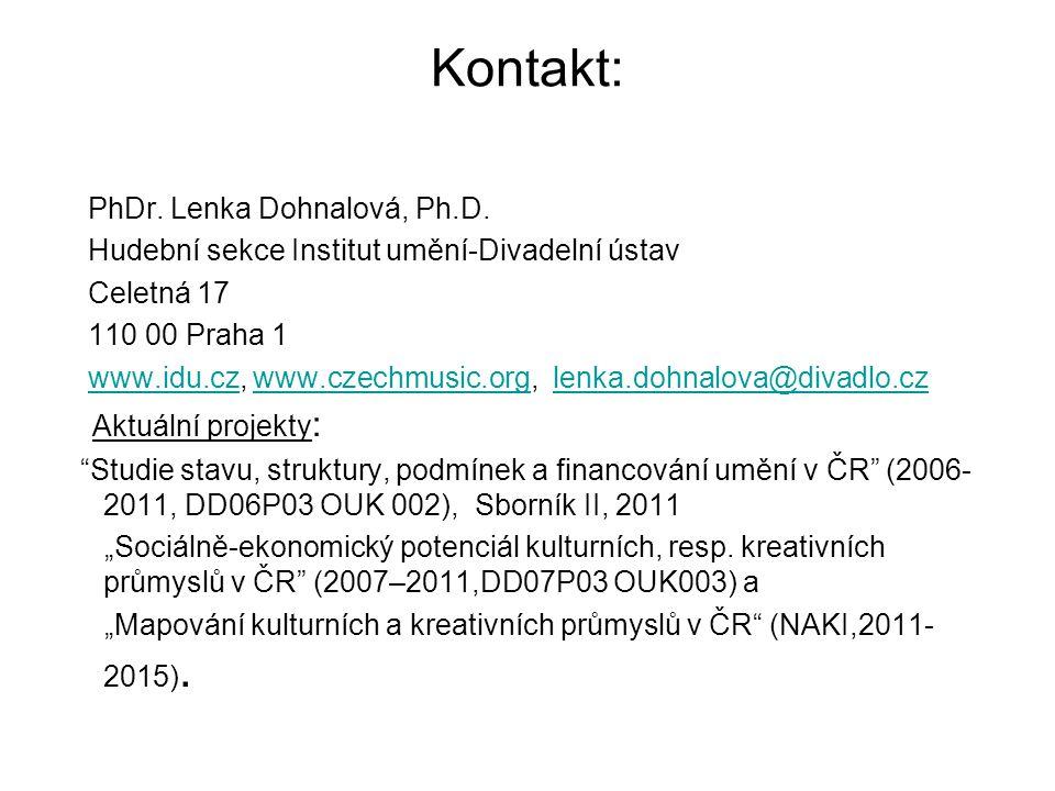 Kontakt: PhDr. Lenka Dohnalová, Ph.D. Hudební sekce Institut umění-Divadelní ústav Celetná 17 110 00 Praha 1 www.idu.cz, www.czechmusic.org, lenka.doh