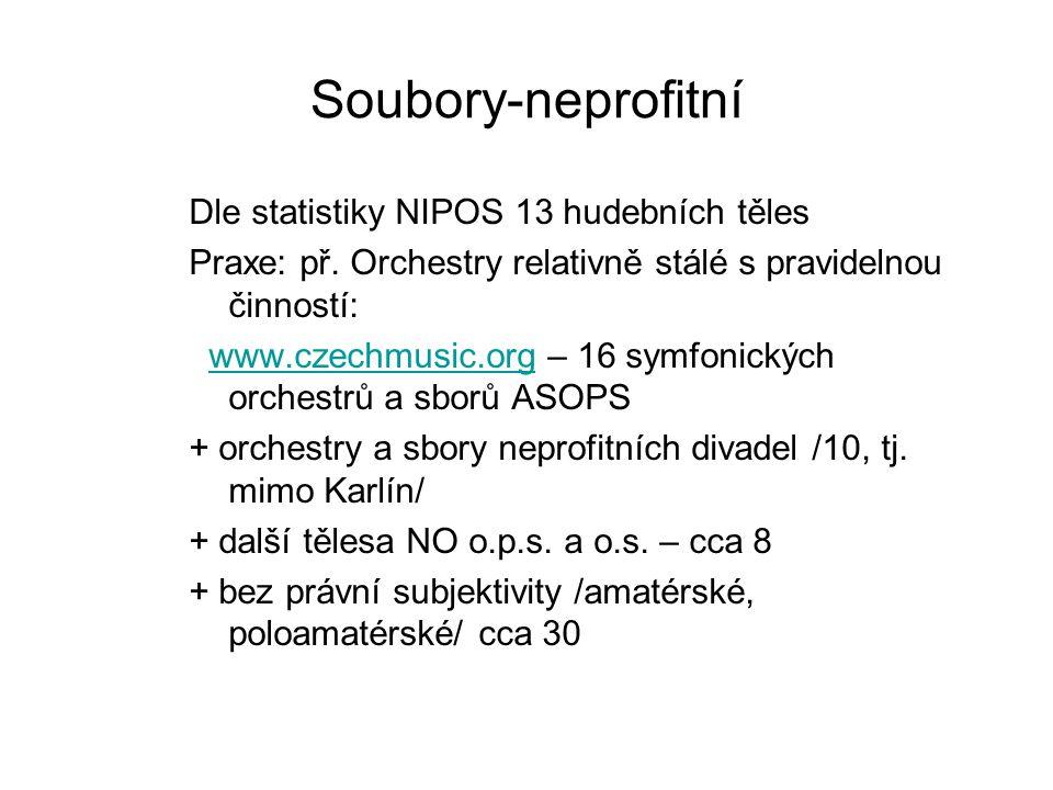 Soubory-neprofitní Dle statistiky NIPOS 13 hudebních těles Praxe: př. Orchestry relativně stálé s pravidelnou činností: www.czechmusic.org – 16 symfon