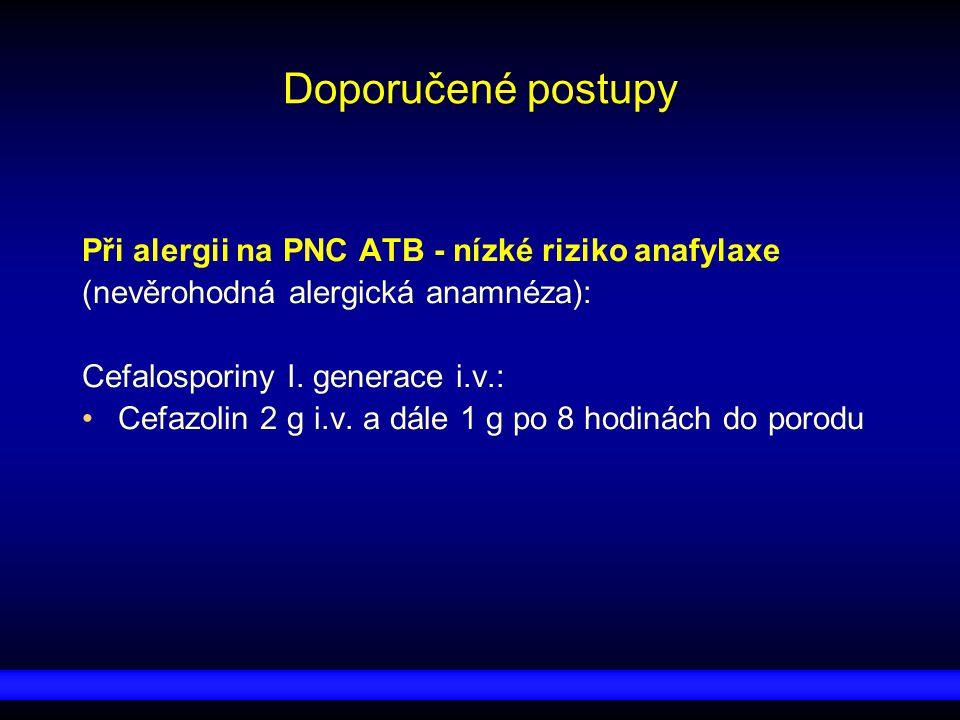 Doporučené postupy Při alergii na PNC ATB - nízké riziko anafylaxe (nevěrohodná alergická anamnéza): Cefalosporiny I. generace i.v.: Cefazolin 2 g i.v