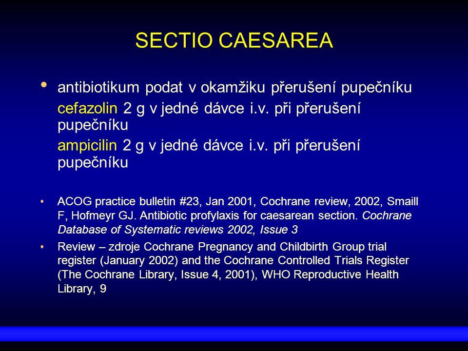 SECTIO CAESAREA antibiotikum podat v okamžiku přerušení pupečníku cefazolin 2 g v jedné dávce i.v. při přerušení pupečníku ampicilin 2 g v jedné dávce