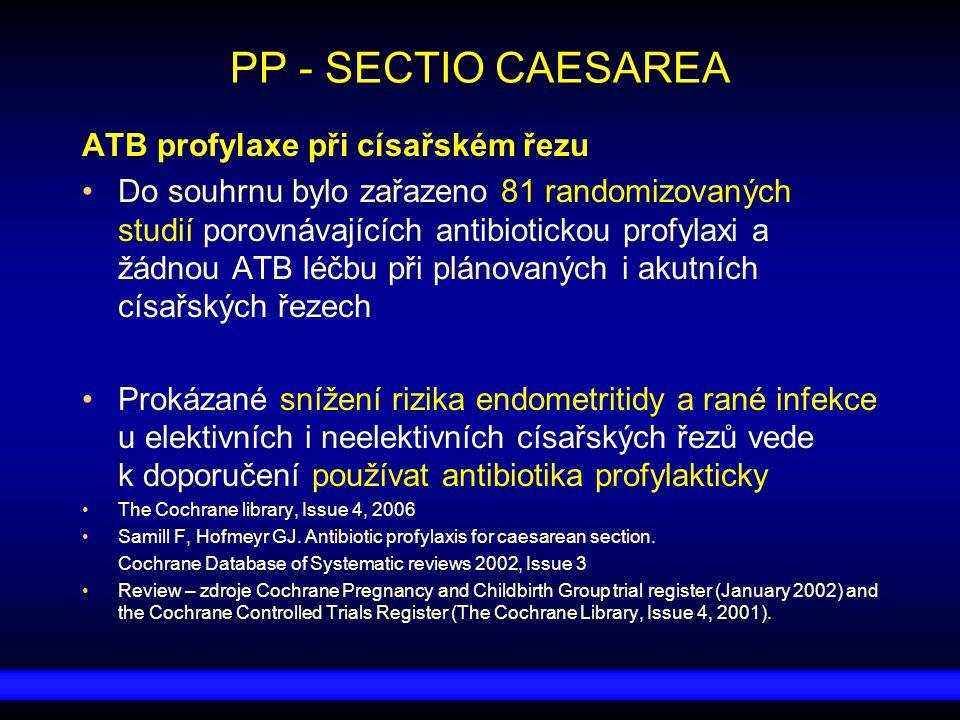 PP - SECTIO CAESAREA ATB profylaxe při císařském řezu Do souhrnu bylo zařazeno 81 randomizovaných studií porovnávajících antibiotickou profylaxi a žád