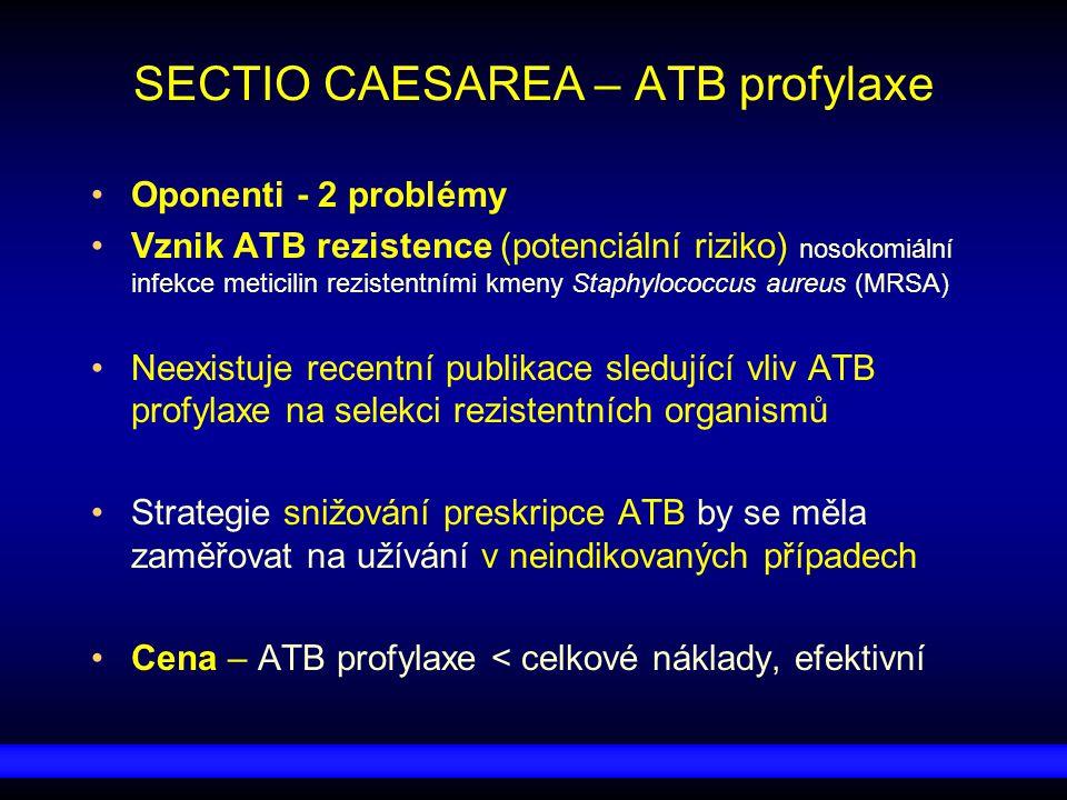 SECTIO CAESAREA – ATB profylaxe Oponenti - 2 problémy Vznik ATB rezistence (potenciální riziko) nosokomiální infekce meticilin rezistentními kmeny Sta