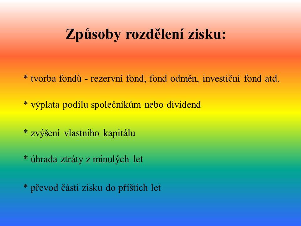 Způsoby rozdělení zisku: * výplata podílu společníkům nebo dividend * tvorba fondů - rezervní fond, fond odměn, investiční fond atd. * zvýšení vlastní