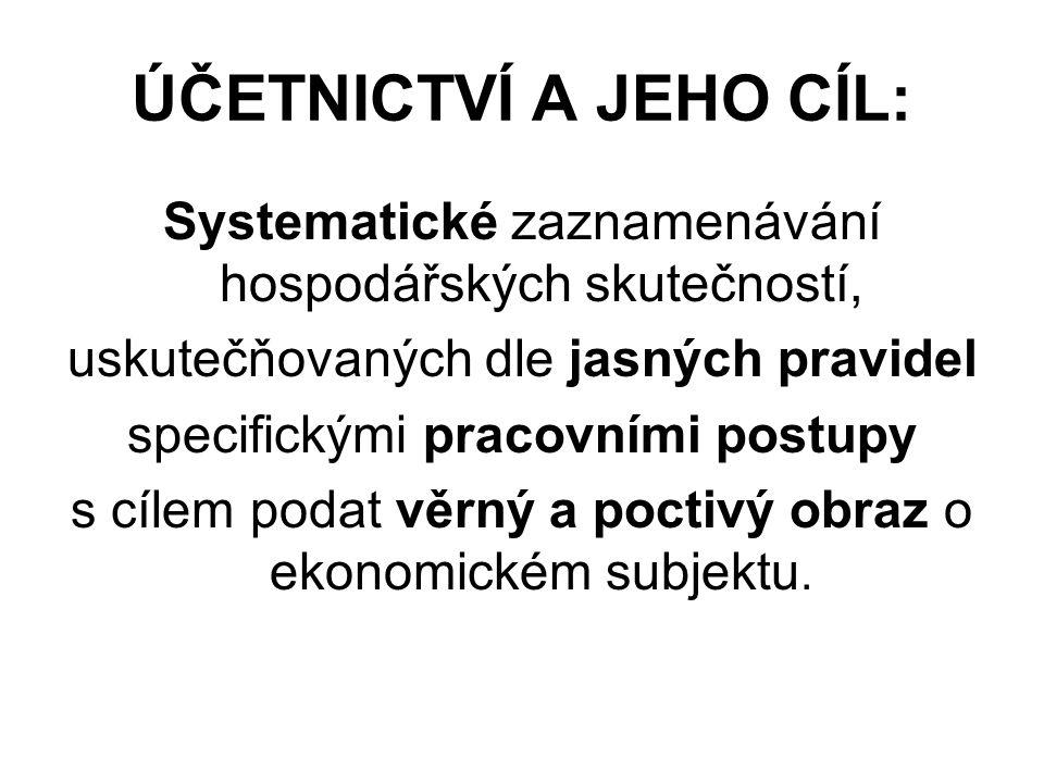 ÚČETNICTVÍ A JEHO CÍL: Systematické zaznamenávání hospodářských skutečností, uskutečňovaných dle jasných pravidel specifickými pracovními postupy s cílem podat věrný a poctivý obraz o ekonomickém subjektu.