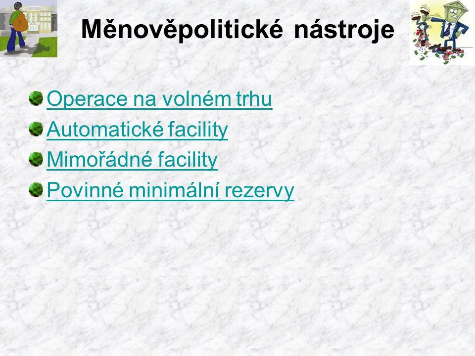 Měnověpolitické nástroje Operace na volném trhu Automatické facility Mimořádné facility Povinné minimální rezervy
