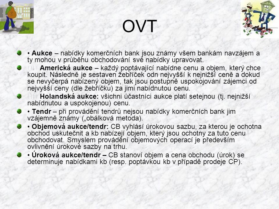 OVT Aukce – nabídky komerčních bank jsou známy všem bankám navzájem a ty mohou v průběhu obchodování své nabídky upravovat. Americká aukce – každý pop