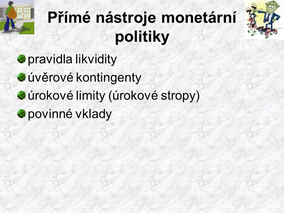 Přímé nástroje monetární politiky pravidla likvidity úvěrové kontingenty úrokové limity (úrokové stropy) povinné vklady