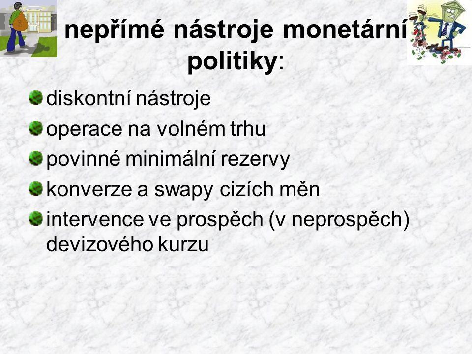 nepřímé nástroje monetární politiky: diskontní nástroje operace na volném trhu povinné minimální rezervy konverze a swapy cizích měn intervence ve prospěch (v neprospěch) devizového kurzu