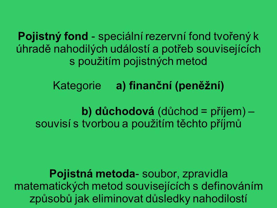 Pojistný fond - speciální rezervní fond tvořený k úhradě nahodilých událostí a potřeb souvisejících s použitím pojistných metod Kategorie a) finanční (peněžní) b) důchodová (důchod = příjem) – souvisí s tvorbou a použitím těchto příjmů Pojistná metoda- soubor, zpravidla matematických metod souvisejících s definováním způsobů jak eliminovat důsledky nahodilostí
