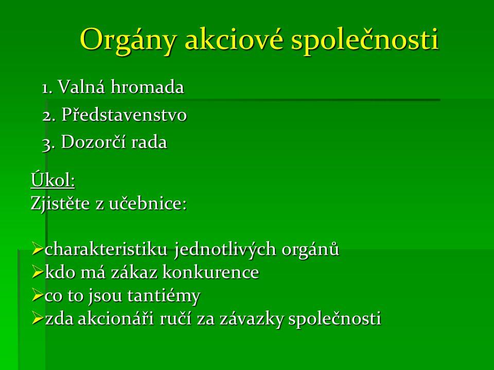 Orgány akciové společnosti 1. Valná hromada 2. Představenstvo 3.