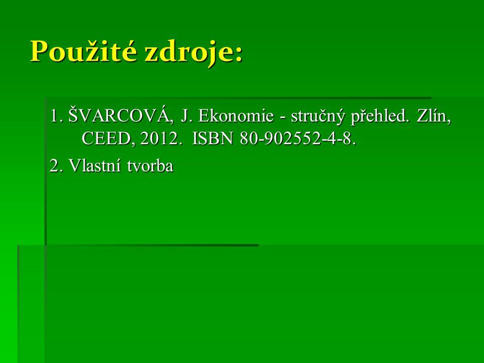 Použité zdroje: 1. ŠVARCOVÁ, J. Ekonomie - stručný přehled. Zlín, CEED, 2012. ISBN 80-902552-4-8. 2. Vlastní tvorba