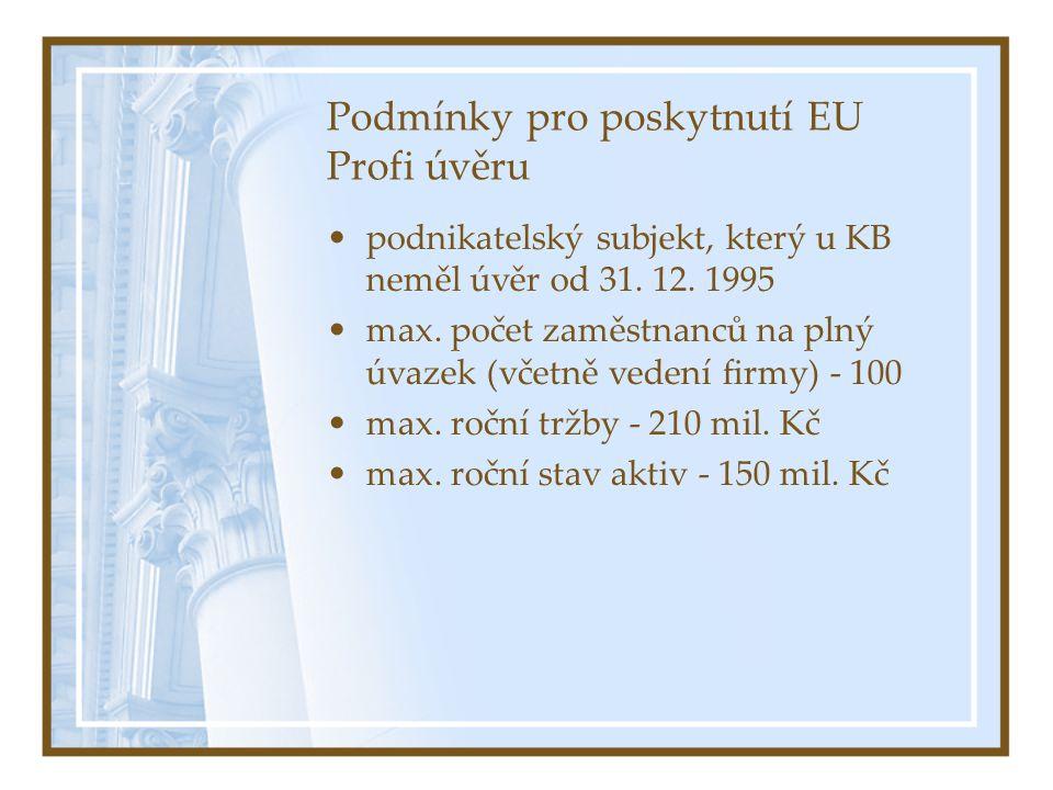 Podmínky pro poskytnutí EU Profi úvěru podnikatelský subjekt, který u KB neměl úvěr od 31.