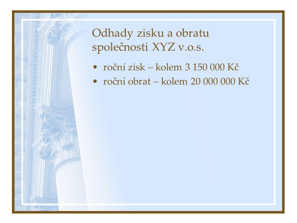 Odhady zisku a obratu společnosti XYZ v.o.s.