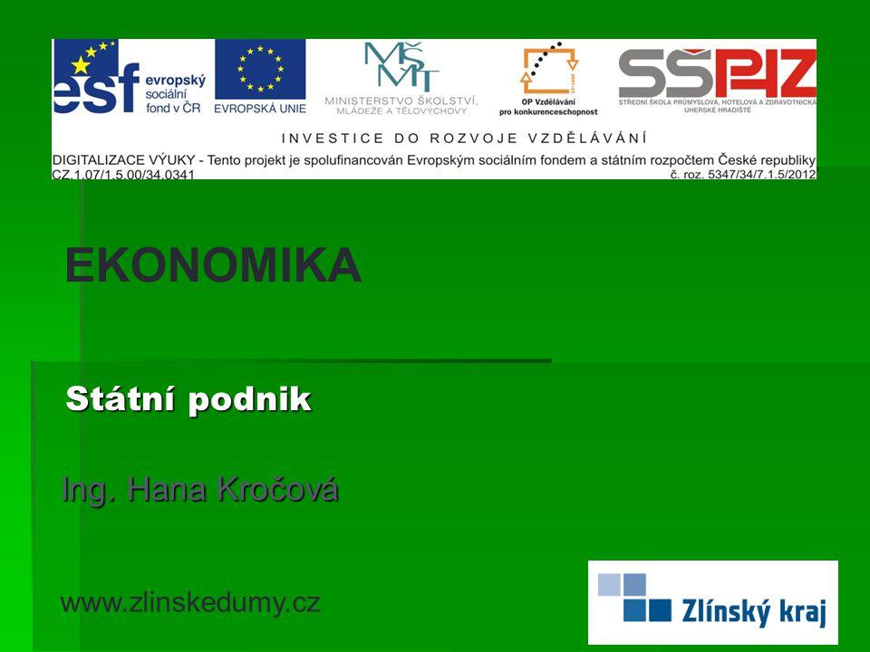 Státní podnik Ing. Hana Kročová EKONOMIKA www.zlinskedumy.cz
