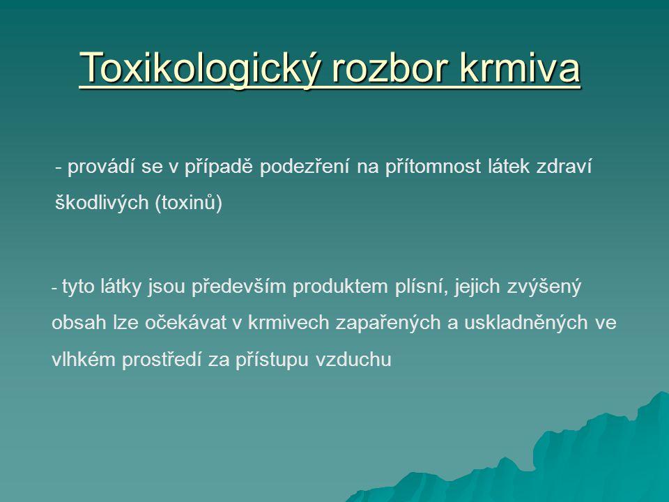 Toxikologický rozbor krmiva - provádí se v případě podezření na přítomnost látek zdraví škodlivých (toxinů) - tyto látky jsou především produktem plísní, jejich zvýšený obsah lze očekávat v krmivech zapařených a uskladněných ve vlhkém prostředí za přístupu vzduchu