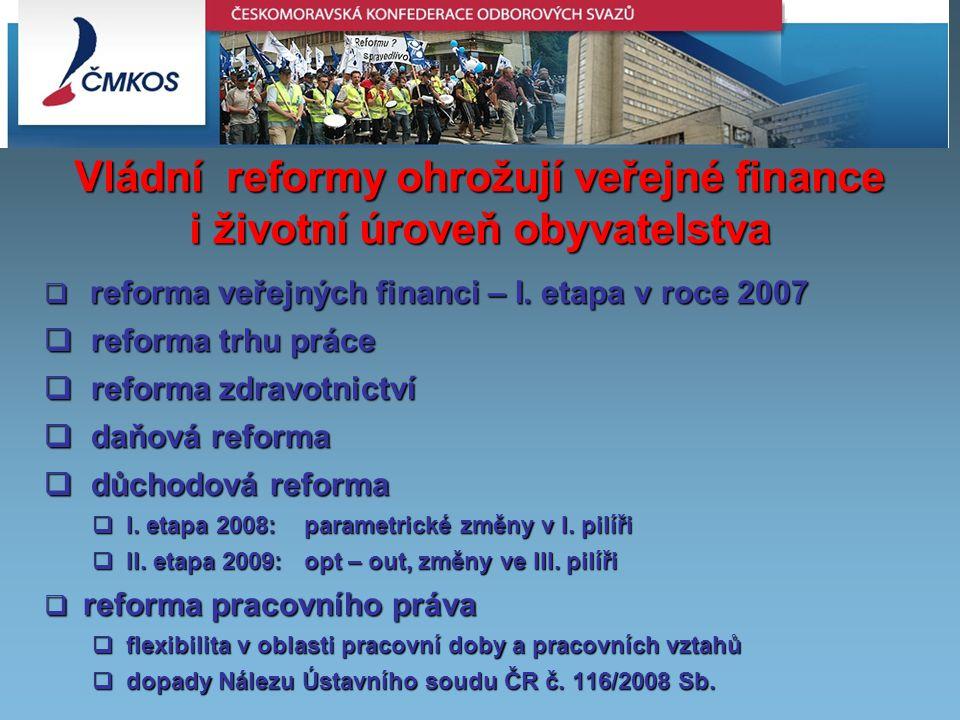 Vládní reformy ohrožují veřejné finance i životní úroveň obyvatelstva  reforma veřejných financi – I.