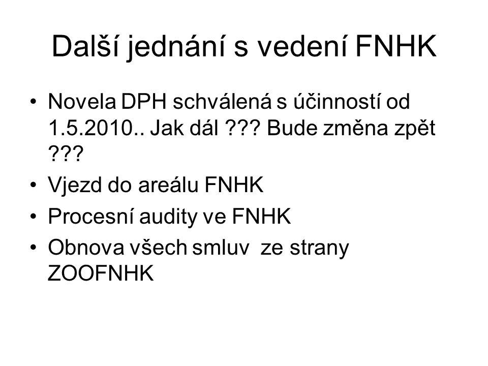 Další jednání s vedení FNHK Novela DPH schválená s účinností od 1.5.2010..