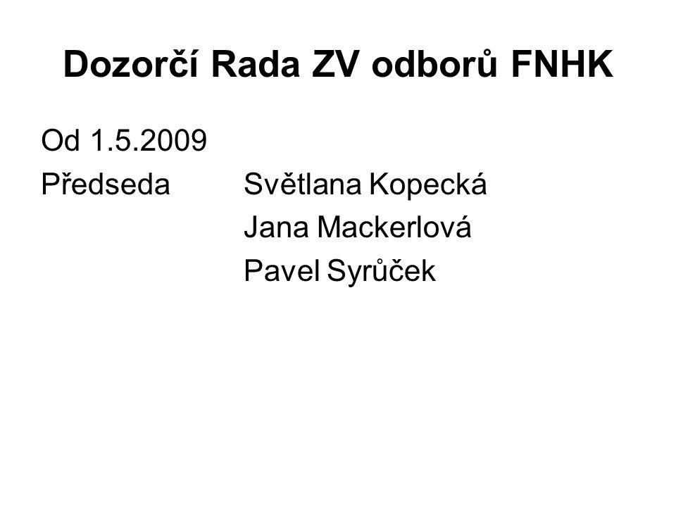 Dozorčí Rada ZV odborů FNHK Od 1.5.2009 PředsedaSvětlana Kopecká Jana Mackerlová Pavel Syrůček