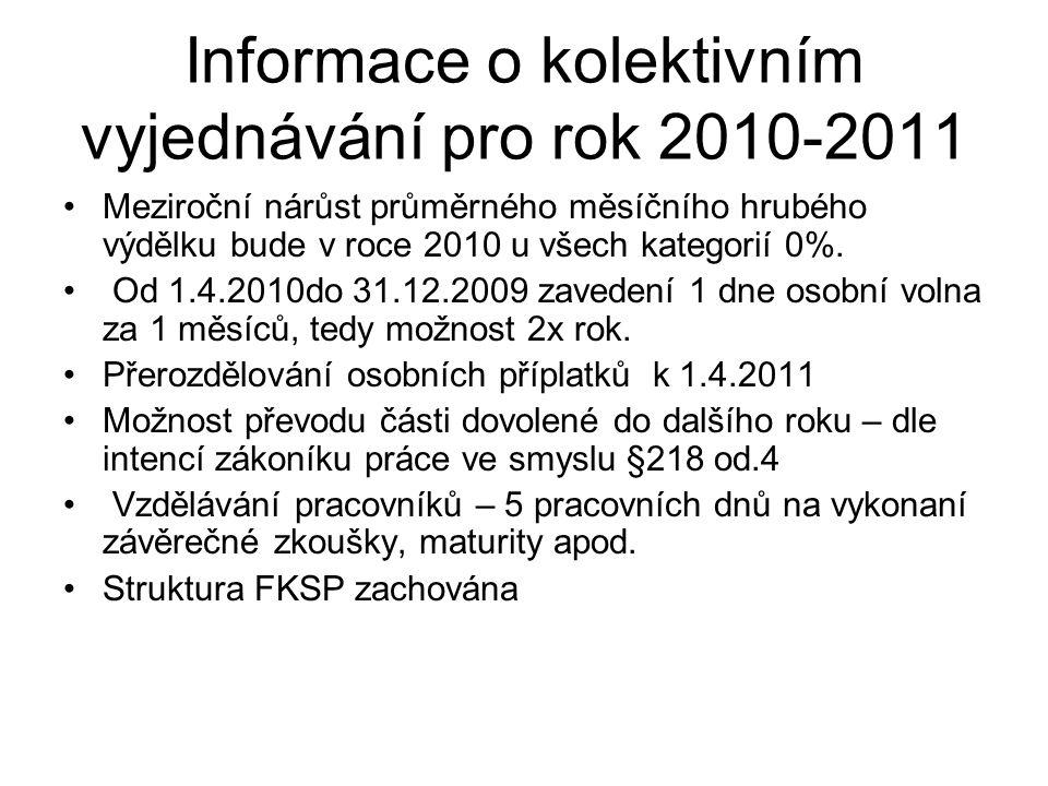 Informace o kolektivním vyjednávání pro rok 2010-2011 Meziroční nárůst průměrného měsíčního hrubého výdělku bude v roce 2010 u všech kategorií 0%.