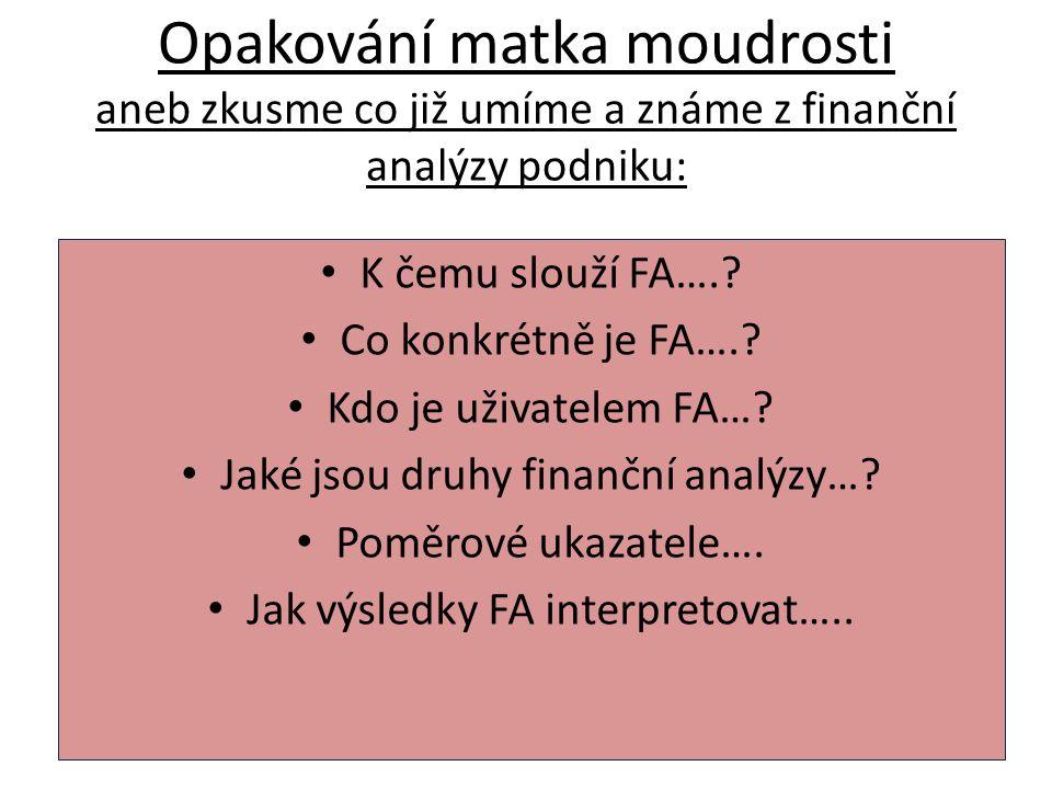 Opakování matka moudrosti aneb zkusme co již umíme a známe z finanční analýzy podniku: K čemu slouží FA….? Co konkrétně je FA….? Kdo je uživatelem FA…