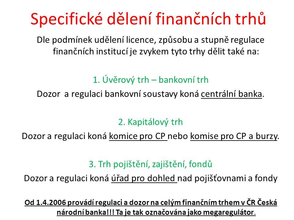 Specifické dělení finančních trhů Dle podmínek udělení licence, způsobu a stupně regulace finančních institucí je zvykem tyto trhy dělit také na: 1.
