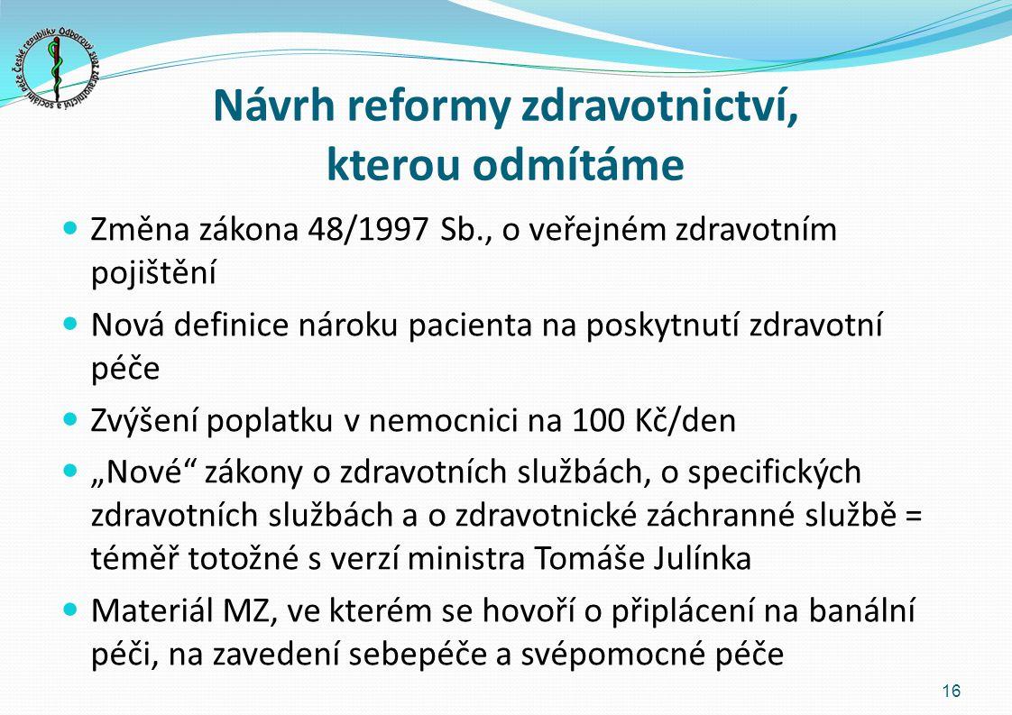"""Návrh reformy zdravotnictví, kterou odmítáme Změna zákona 48/1997 Sb., o veřejném zdravotním pojištění Nová definice nároku pacienta na poskytnutí zdravotní péče Zvýšení poplatku v nemocnici na 100 Kč/den """"Nové zákony o zdravotních službách, o specifických zdravotních službách a o zdravotnické záchranné službě = téměř totožné s verzí ministra Tomáše Julínka Materiál MZ, ve kterém se hovoří o připlácení na banální péči, na zavedení sebepéče a svépomocné péče 16"""