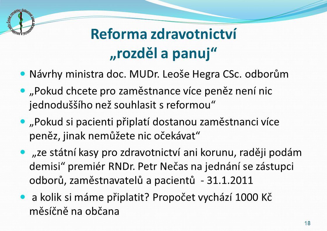 """Reforma zdravotnictví """"rozděl a panuj"""" Návrhy ministra doc. MUDr. Leoše Hegra CSc. odborům """"Pokud chcete pro zaměstnance více peněz není nic jednodušš"""