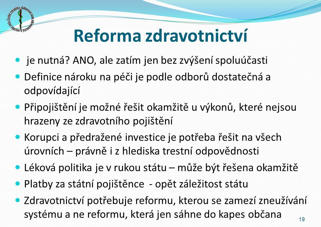 Reforma zdravotnictví je nutná.