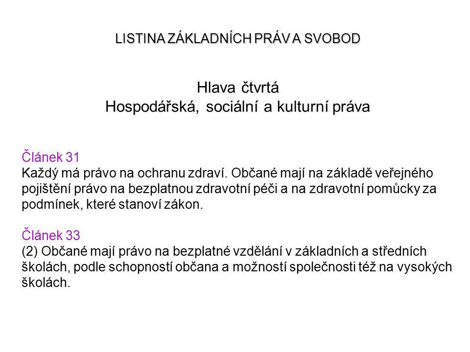 LISTINA ZÁKLADNÍCH PRÁV A SVOBOD Hlava čtvrtá Hospodářská, sociální a kulturní práva Článek 31 Každý má právo na ochranu zdraví. Občané mají na základ