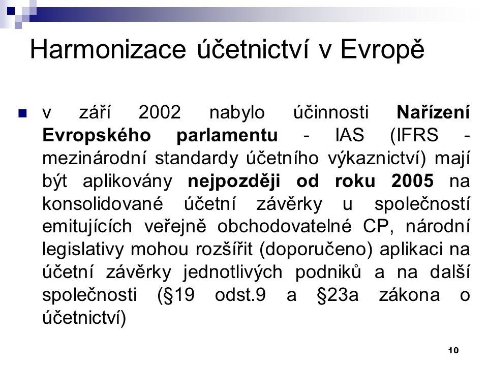 10 Harmonizace účetnictví v Evropě v září 2002 nabylo účinnosti Nařízení Evropského parlamentu - IAS (IFRS - mezinárodní standardy účetního výkaznictv