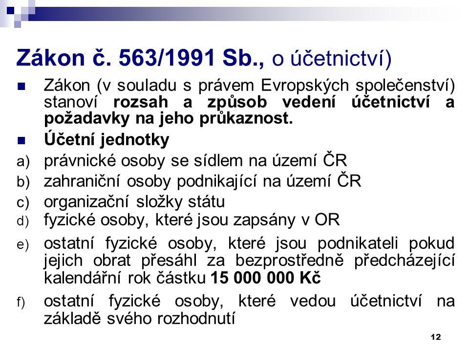 12 Zákon č. 563/1991 Sb., o účetnictví) Zákon (v souladu s právem Evropských společenství) stanoví rozsah a způsob vedení účetnictví a požadavky na je