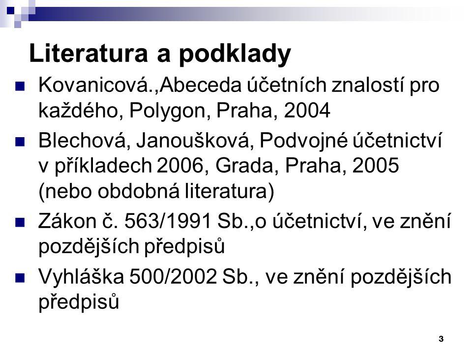 3 Literatura a podklady Kovanicová.,Abeceda účetních znalostí pro každého, Polygon, Praha, 2004 Blechová, Janoušková, Podvojné účetnictví v příkladech