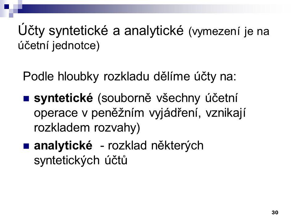 30 Účty syntetické a analytické (vymezení je na účetní jednotce) Podle hloubky rozkladu dělíme účty na: syntetické (souborně všechny účetní operace v