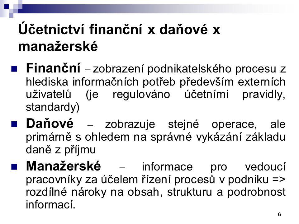 6 Účetnictví finanční x daňové x manažerské Finanční – zobrazení podnikatelského procesu z hlediska informačních potřeb především externích uživatelů