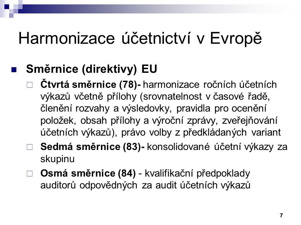 7 Harmonizace účetnictví v Evropě Směrnice (direktivy) EU  Čtvrtá směrnice (78)- harmonizace ročních účetních výkazů včetně přílohy (srovnatelnost v