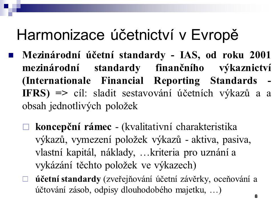 """9 Harmonizace účetnictví v Evropě Standard IAS 1 – Stavování a zveřejňování účetních výkazů (obsah účetní závěrky) """"Účetní závěrka musí prezentovat věrně finanční pozici, finanční výkonnost a peněžní toky organizace."""