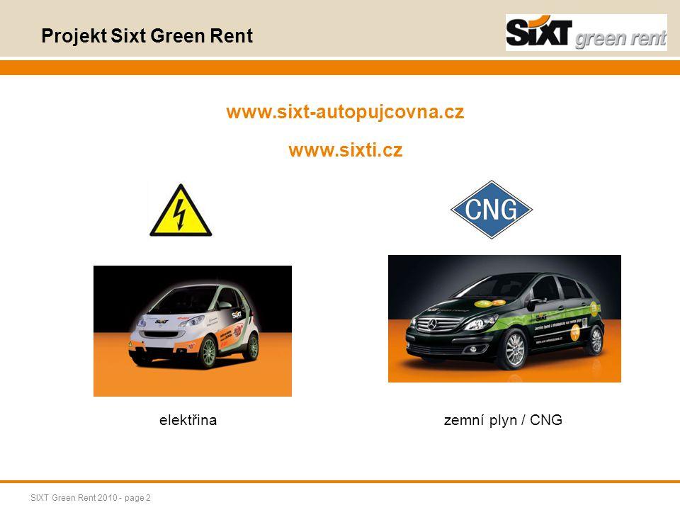 SIXT Green Rent 2010 - page 3 flotila vozidel s pohonem na elektřinu (2 auta) Uvedení na trh: červen 2011 2ks vozidla značky Smart Passion line, stříbrný Tridion - max.